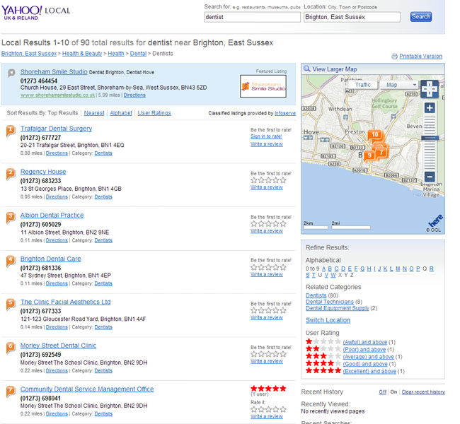 Yahoo old local search result design