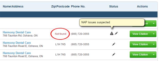 NAP discrepancies using CitationTracker