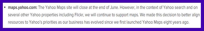 Yahoo Maps Closure