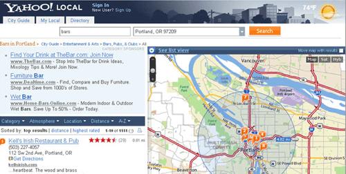 Yahoo local maps update