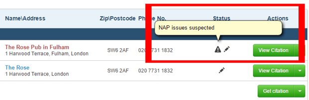 NAP issues for Citation Sites