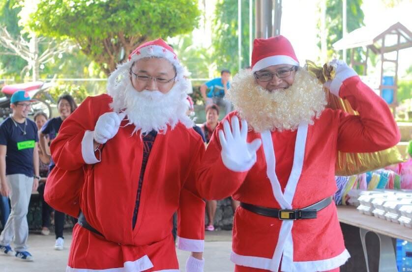 Dressed up as Santa Claus