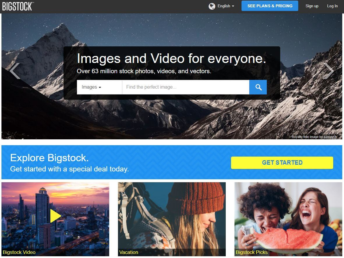 Bigstock screenshot