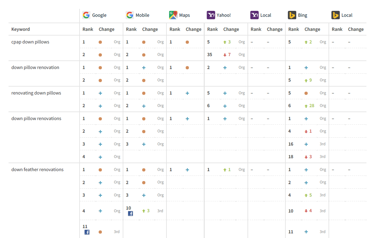 Sample of BrightLocal's Ranking Report