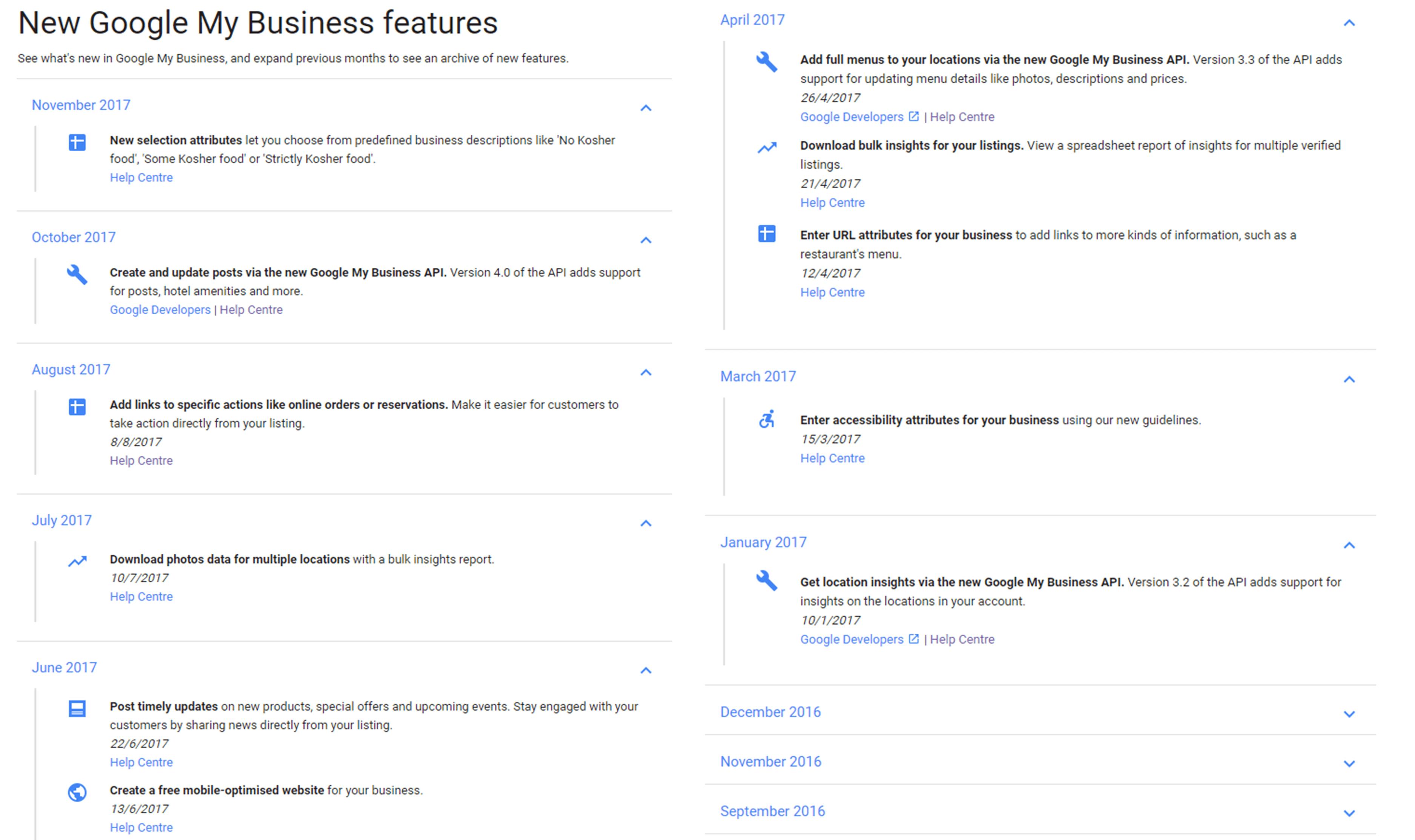 New Google My Business features screenshot