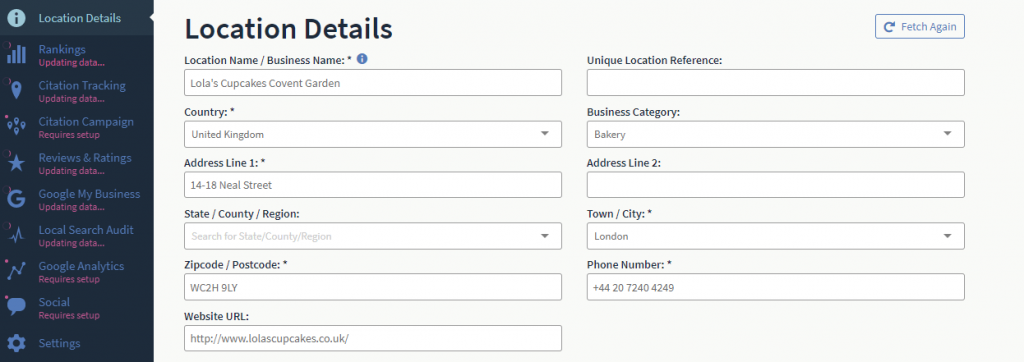 Business Details setup in BrightLocal