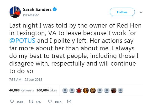 Red Hen Sarah Sanders Tweet
