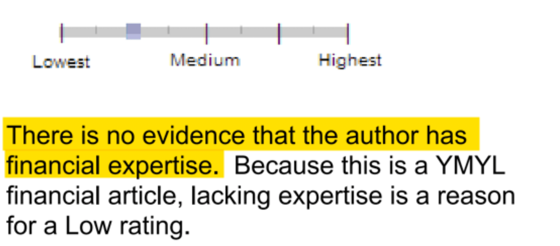 Google Quality Raters' Guidelines -No Financial EAT