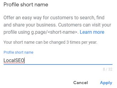GMB Profile Short Name
