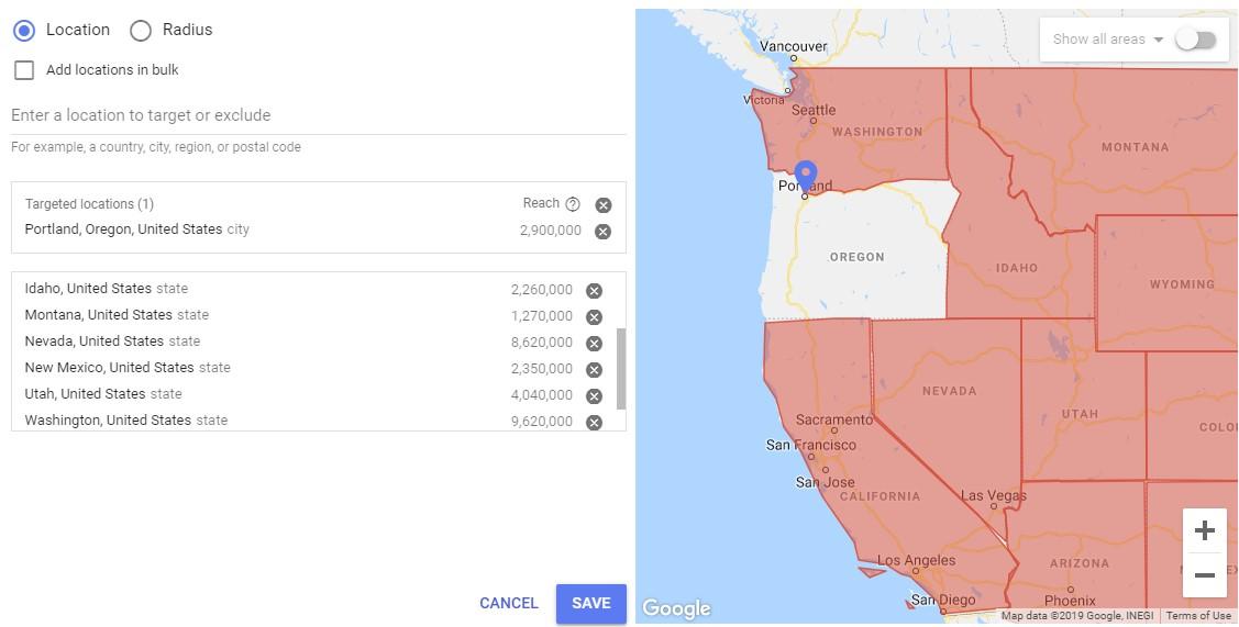 Google location targeting