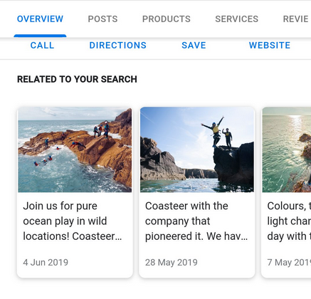 Google Posts in Local Finder 'Related To Your Search'