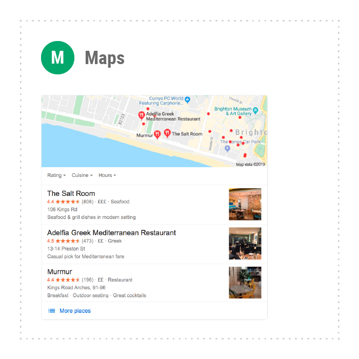 Maps results in SERPs