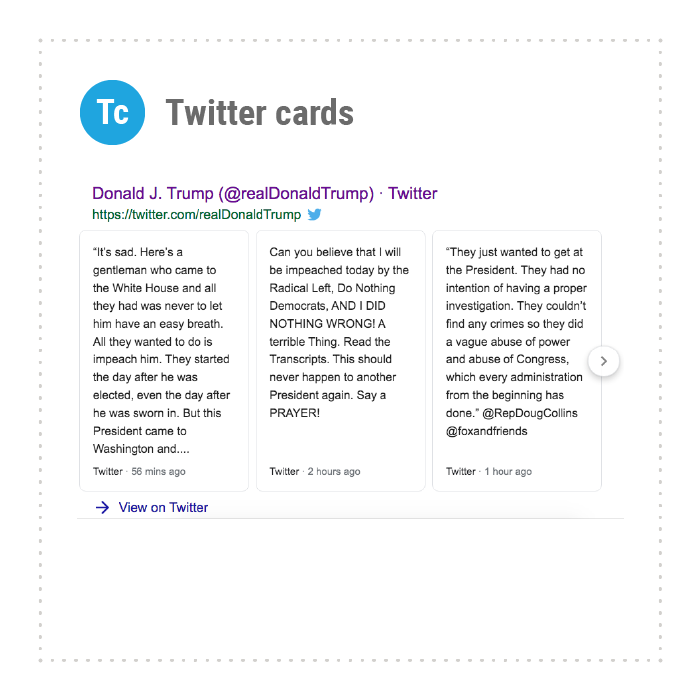 Twitter Cards in SERPs