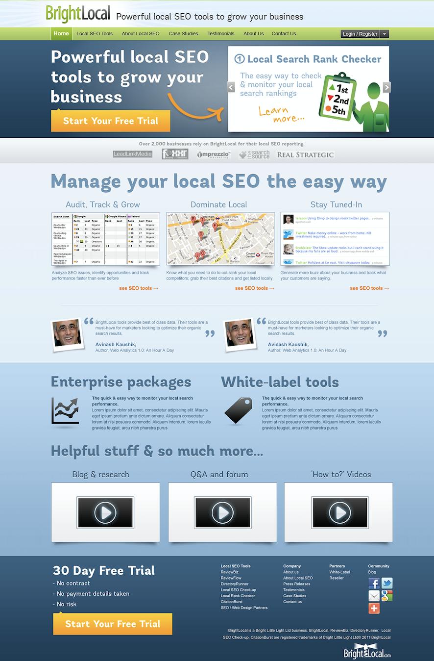 BrightLocal Website 2012