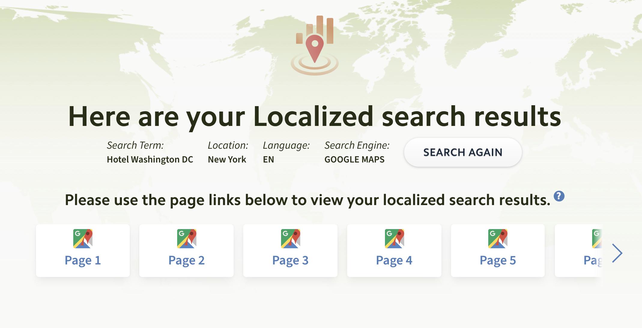 Local search results checker