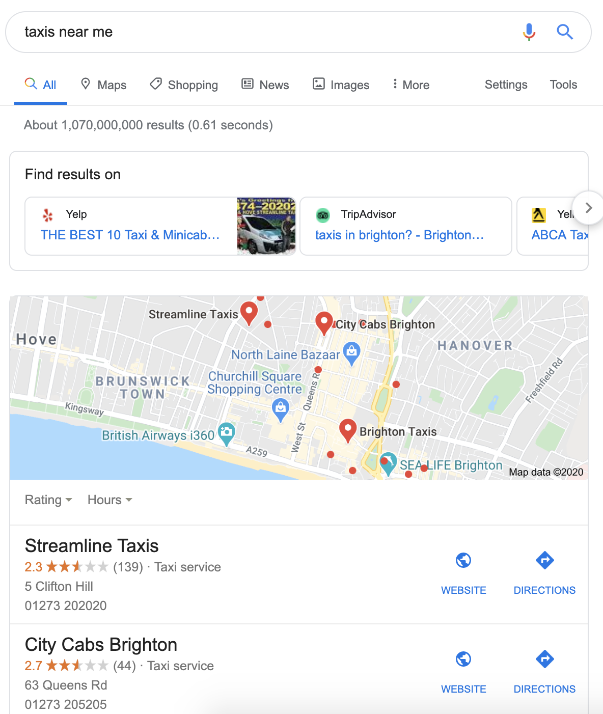Taxis near me SERP result