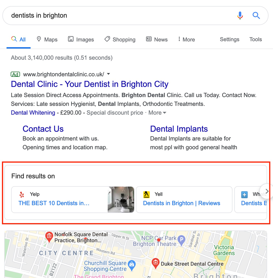 Find results carousel EU SERPs