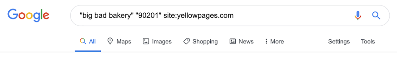 Google search example