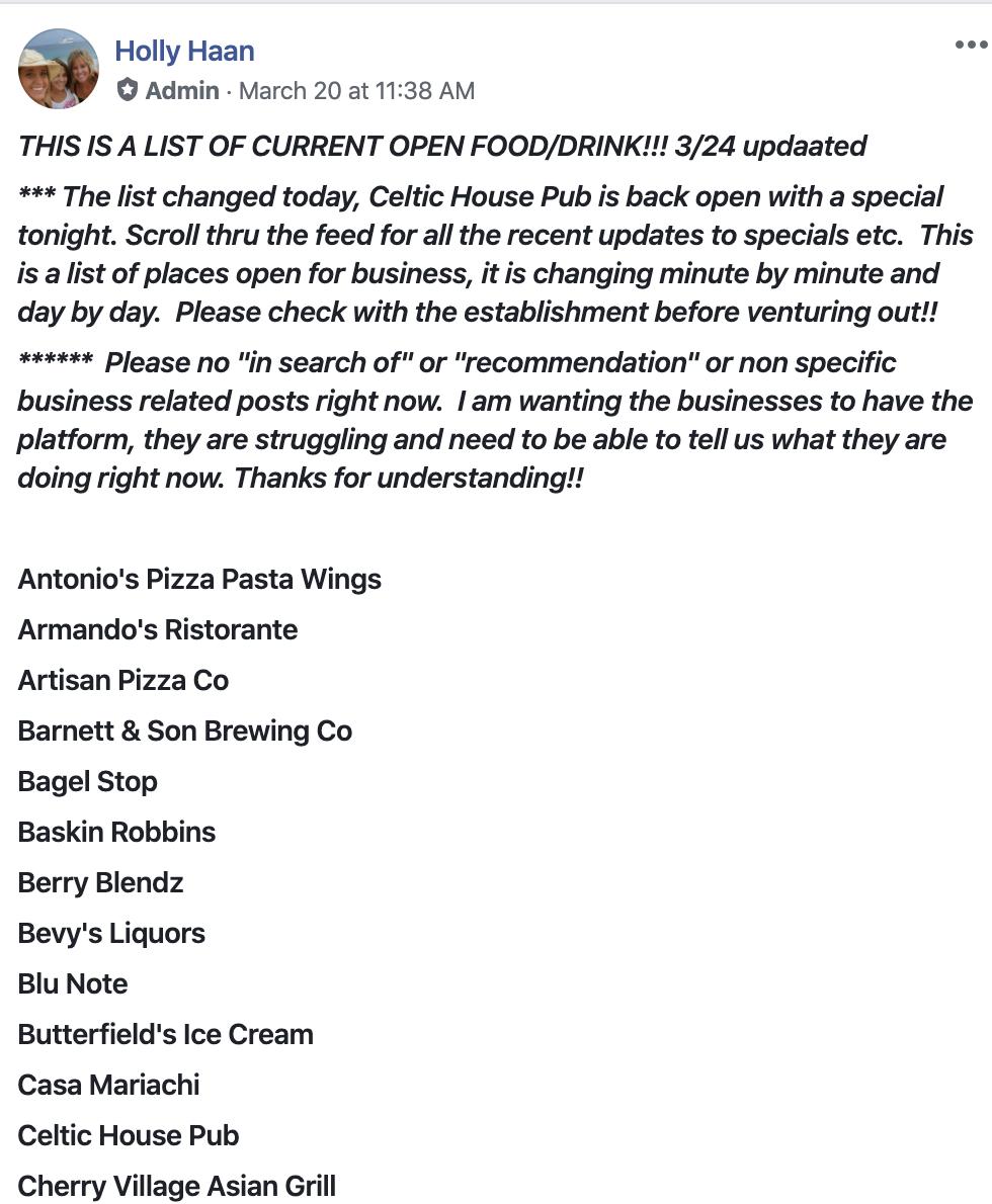 Covid-19 Facebook Update