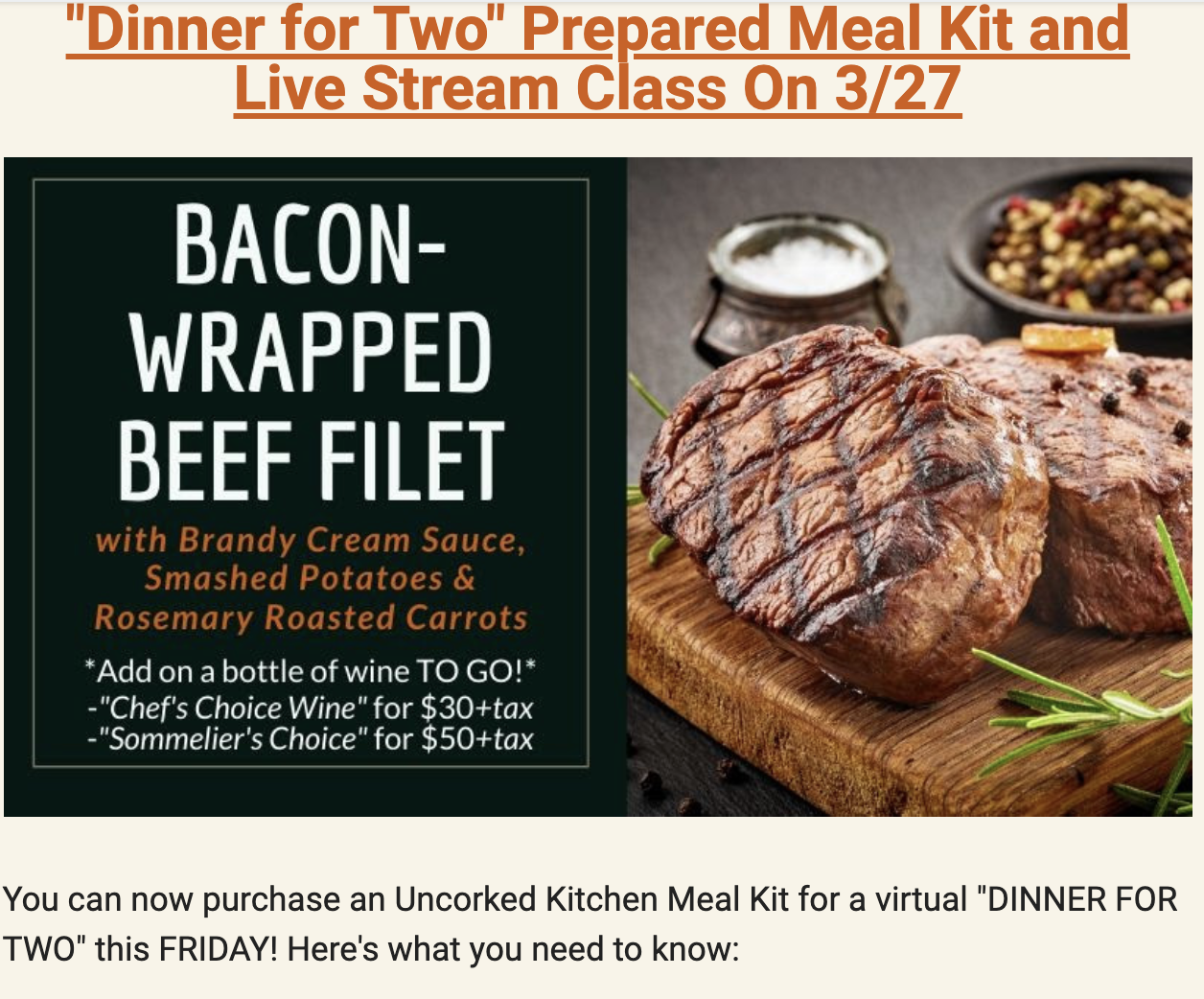 Restaurant online cooking classes