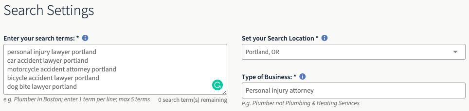 LSA search settings