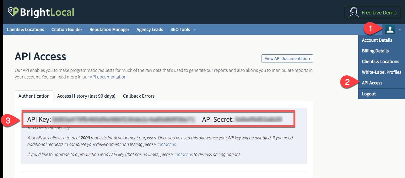BrightLocal API key