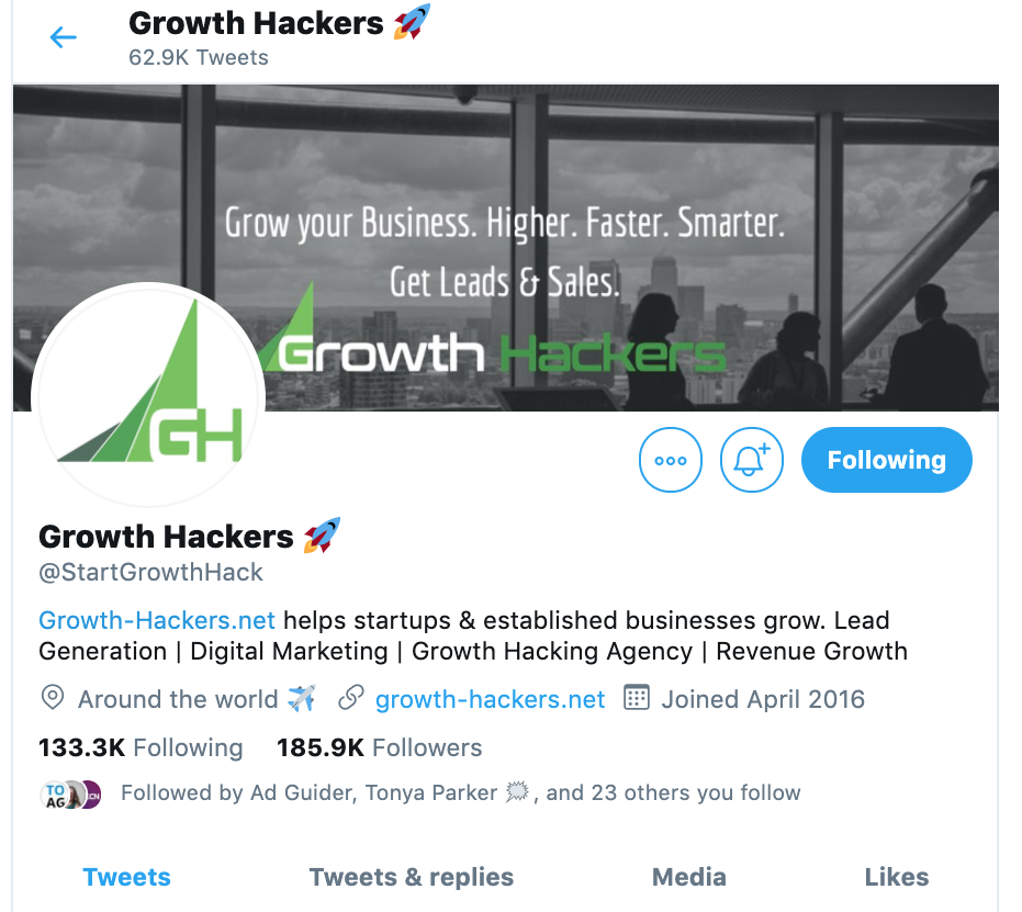 Growth Hackers Twitter