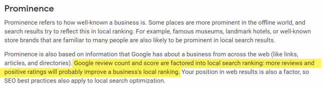 Google Maps Prominence and Online Reviews