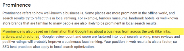 Google My Business Prominence