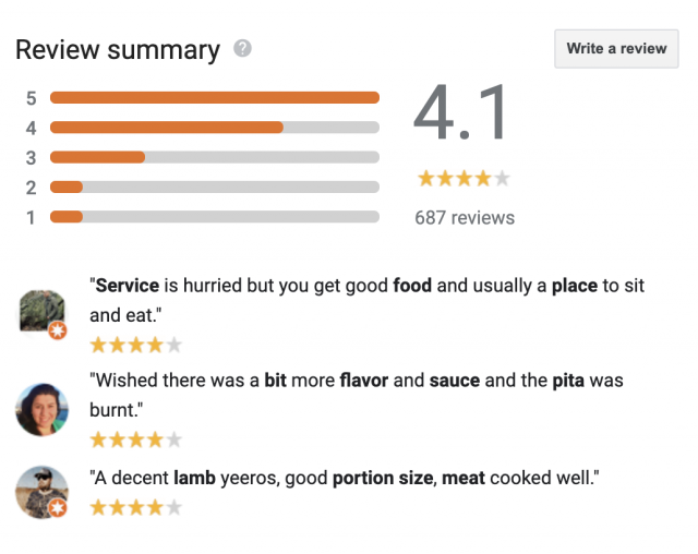 Reviews summary in GMB