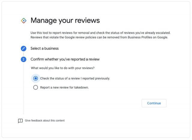 Review takedown tool