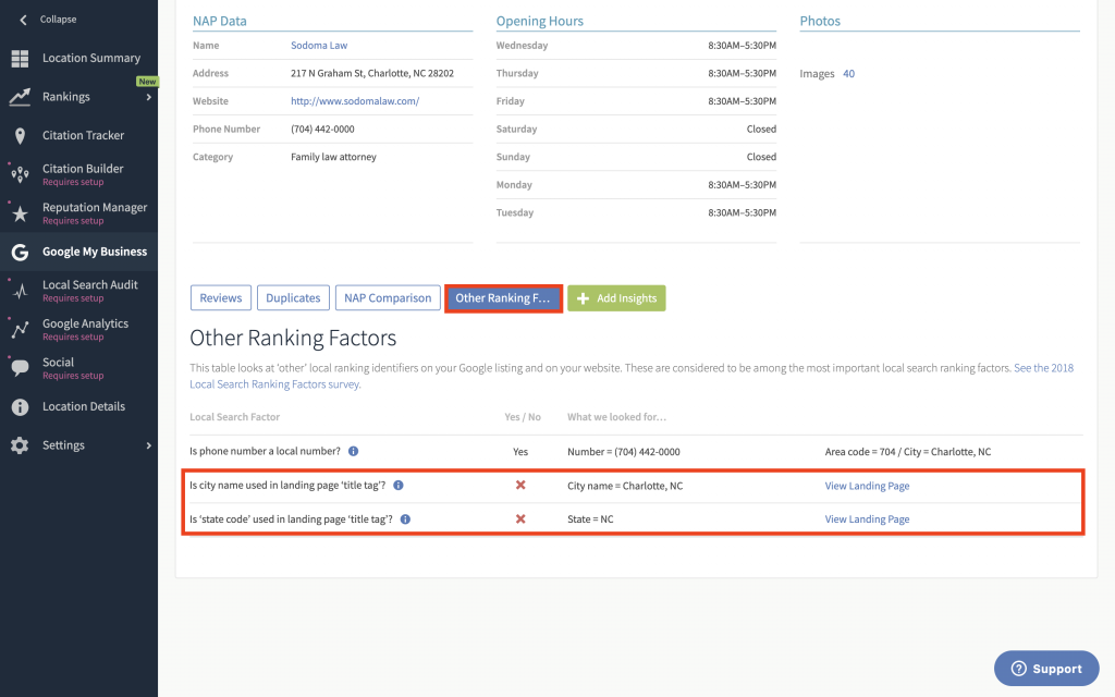 Other ranking factors