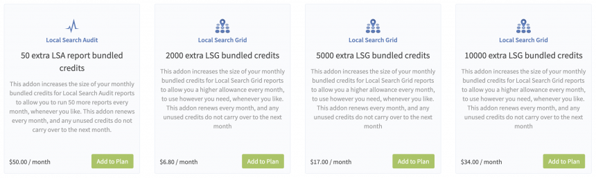 Local Search Grid Bundled Credits Addons