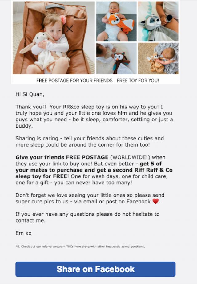 Riff Raff & Co email referral campaign