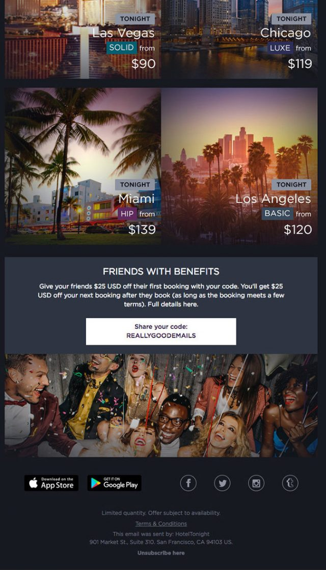 Hotel Tonight's email marketing referral campaign for customer loyalty