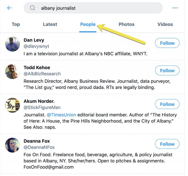 Find journalists on Twitter