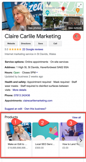 GMB products and services screenshot 28