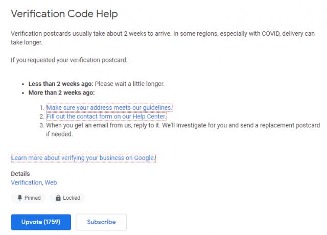 Verification code help
