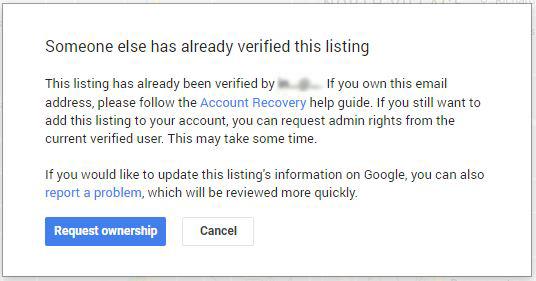 Verify Google My Business someone has already verified this listing