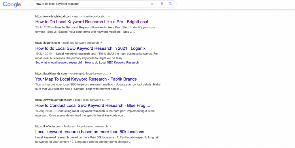 How to do local keyword research