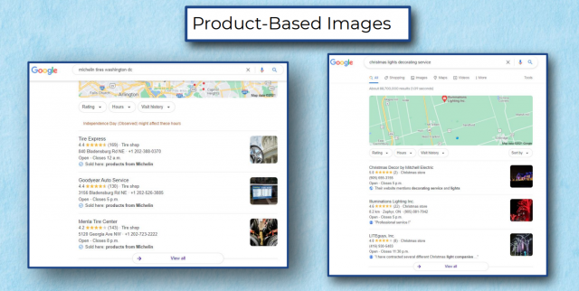 Product-based images being used in SERPs