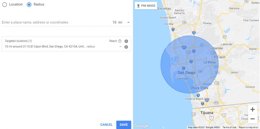 Configuring radius when setting up hyperlocal google ads