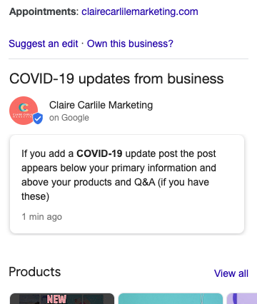 Covid-19 Updates from the Business
