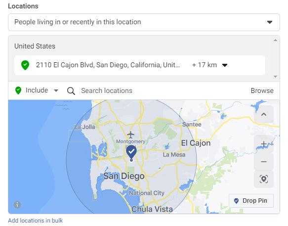 Configuring radius on hyperlocal Facebook brand awareness ads